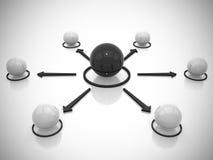 La red conceptual de las esferas 3d rinde Imagen de archivo