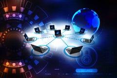 La red de ordenadores, ordenador conectó con el servidor representación 3d imagenes de archivo