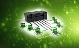 La red de ordenadores, ordenador conect? con el servidor 3d rinden ilustración del vector
