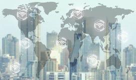 La red de Wifi conecta la comunicación inalámbrica fotos de archivo libres de regalías