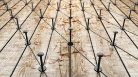 La red, establecimiento de una red, conecta, ata con alambre Lazo de entidades Red de los alambres del oro en la madera rústica r Fotos de archivo libres de regalías