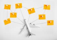 La red para el concepto que viaja, perno del empuje, secuencia de la preparación, empapela conocido fotografía de archivo libre de regalías