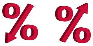 La reducción del precio de venta del descuento del icono, tipo de interés de la muestra 3D con la flecha abajo y sube, el concept Fotografía de archivo