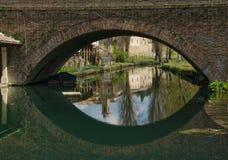 La reflexión del puente tiene gusto de un ojo gigante Foto de archivo libre de regalías