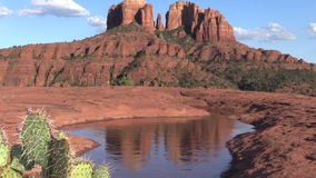 La reflexión escénica de la roca de la catedral enfoca adentro Foto de archivo libre de regalías