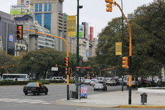 La Reforma, the main street of Buenos Aires. In the capital of Argentina. Busy street, with high volume of traffic. Very noisy and poluted place in the heart Royalty Free Stock Photography