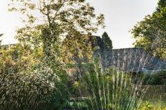 La regadera del agua en el jardín produce reflejos de luz durante ocaso Imagenes de archivo