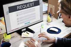 La registrazione di appartenenza di richiesta segue il concetto immagine stock libera da diritti