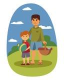 La regolazione di picnic con le coppie di riposo del barbecue del canestro del paniere di alimento fresco ed il pasto dell'estate Immagini Stock Libere da Diritti