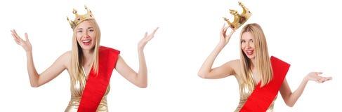 La reina de belleza en la competencia aislada en blanco Imagen de archivo libre de regalías