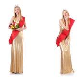 La reina de belleza en la competencia aislada en blanco Imagen de archivo