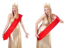 La reina de belleza en la competencia aislada en blanco Foto de archivo libre de regalías