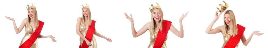 La reina de belleza en la competencia aislada en blanco Foto de archivo