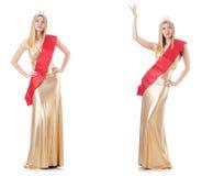 La reina de belleza en la competencia aislada en blanco Imagenes de archivo