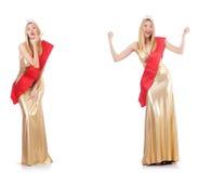 La reina de belleza en la competencia aislada en blanco Fotos de archivo