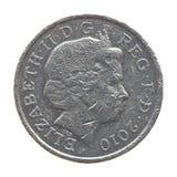 La reina en una moneda de libra Imagen de archivo libre de regalías