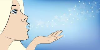 La reina joven del hielo sopla el polvo de estrella stock de ilustración