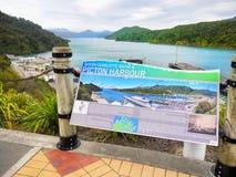 La Reine Charlotte Sound, port de Picton, Nouvelle-Zélande Photo libre de droits