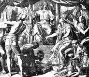 La reine de Sheba rend visite à Solomon Image libre de droits