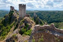 La-Reis Regine Surdespine en Quertinheux-torens in Lastours royalty-vrije stock afbeeldingen