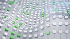 La rejilla desplazada conectada verde 3D rinde Fotos de archivo libres de regalías