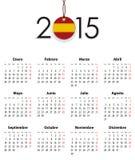 La rejilla española del calendario para 2015 con la bandera le gusta la etiqueta Imagen de archivo libre de regalías