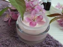 La relajación cosmética poner crema friega el producto orgánico de la salud de la protección del tratamiento de la belleza hecho  Fotografía de archivo