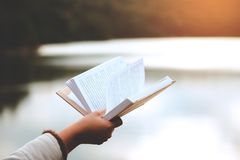 La relajación de momentos, las mujeres jovenes que se abren y libro de lectura goza del resto al aire libre con concepto de las v foto de archivo libre de regalías