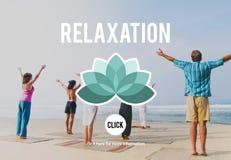 La relajación se relaja enfría hacia fuera concepto de reclinación de la serenidad de la paz Imagen de archivo libre de regalías