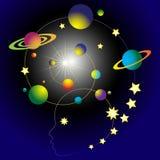 La relazione dell'uomo e dell'universo illustrazione vettoriale