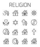La religione ha collegato l'insieme dell'icona di vettore Fotografia Stock