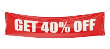 La remise de vente obtiennent 40 % outre du concept sur la bannière rouge Photos libres de droits