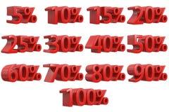 La remise numérote 3d Ensemble rouge d'icône de pourcentage de vente, rendu 3d d'isolement sur le fond blanc Photographie stock