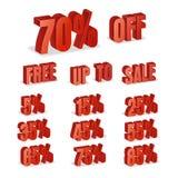 La remise numérote le vecteur 3d Ensemble rouge d'icône de pourcentage de vente dans le style 3D d'isolement sur le fond blanc Li Photo stock