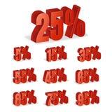 La remise numérote le vecteur 3d Ensemble rouge d'icône de pourcentage de vente dans le style 3D d'isolement sur le fond blanc 10 Photo libre de droits