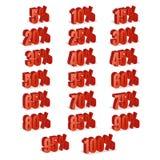 La remise numérote le vecteur 3d Ensemble rouge d'icône de pourcentage de vente dans le style 3D d'isolement sur le fond blanc 10 Image stock