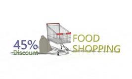 La remise %45 sur le blanc, 3d d'achats de nourriture rendent Photographie stock libre de droits
