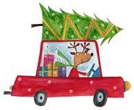 La renna che consegna l'albero di Natale Immagini Stock
