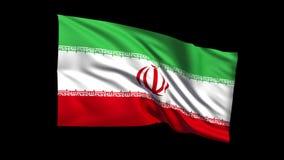 La república islámica de colocación inconsútil de la bandera de Irán que agita en el viento, canal alfa es incluida almacen de metraje de vídeo