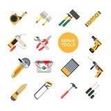 La reparación casera equipa iconos del vector Herramientas de trabajo de la reparación para la reparación Fotografía de archivo libre de regalías