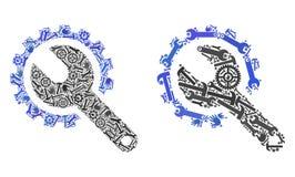 La reparación del collage equipa iconos de las herramientas de la reparación ilustración del vector