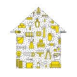 La reparación y la construcción caseras resumen el fondo negro y amarillo del vector Diseño mínimo moderno Cartel de la forma de  Foto de archivo