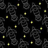 La repetición inconsútil patternchildren el cohete de espacio del ` s, espacio, planetas, estrellas, ejemplo del vector Materia t ilustración del vector