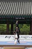 La représentation d'art martial et l'événement coréens traditionnels d'expérience montrent images libres de droits