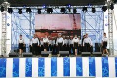 La représentation des danseurs, du choeur et des solistes de l'ensemble de chanson et danse de la flotte navale de la Mer Noire ( Image stock