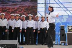La représentation des danseurs, du choeur et des solistes de l'ensemble de chanson et danse de la flotte navale de la Mer Noire ( Images libres de droits