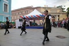 La représentation des soliste-danseurs de l'ensemble Imamat (Dagestan solaire) avec des danses traditionnelles du Caucase du nord photographie stock libre de droits