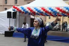 La représentation des soliste-danseurs de l'ensemble Imamat (Dagestan solaire) avec des danses traditionnelles du Caucase du nord Images libres de droits