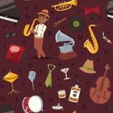 La représentation et l'instrument de musique d'art de symboles de partie de musique de jazz-band de mode équipent les bleus acous Image stock