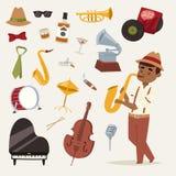 La représentation et l'instrument de musique d'art de symboles de partie de musique de jazz-band de mode équipent les bleus acous Image libre de droits